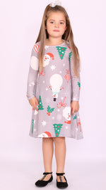 Kids Silver Animated Christmas Swing Dress