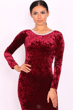 Rochelle Burgundy Velvet Long Sleeve Bodycon