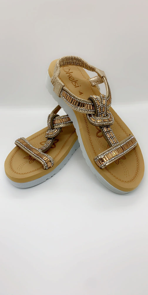 Gold Jewelled Strap Over Flat Sandals