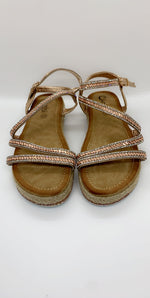 Gold Diamond Details Strap Over Flat Sandals - Missfiga.com