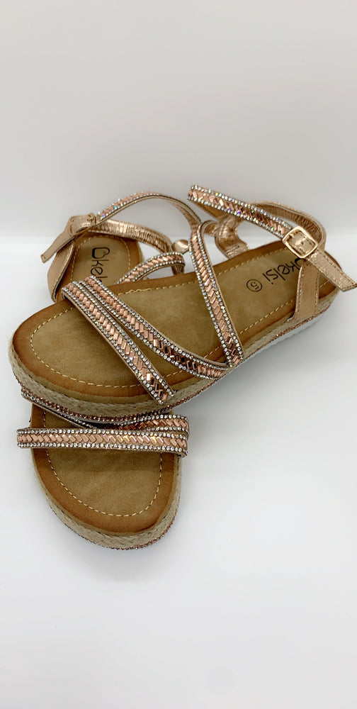 Gold Diamond Details Strap Over Flat Sandals