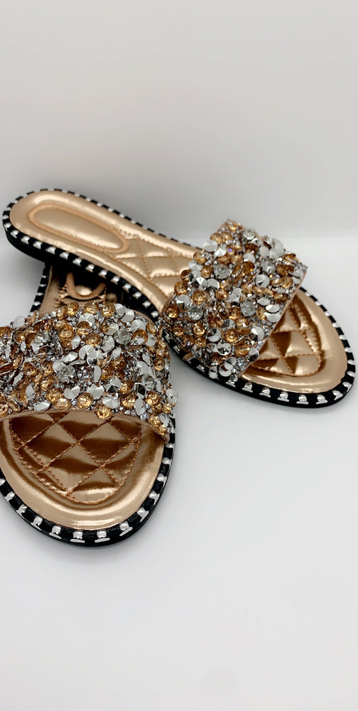 Champagne Sequin Diamond Strap Flat Sliders - Missfiga.com