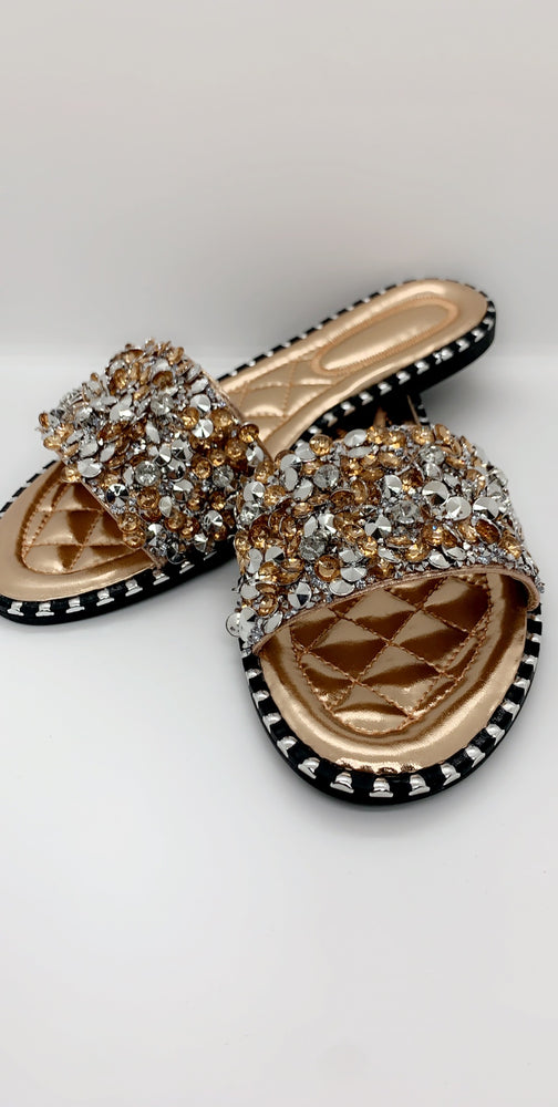 Champagne Sequin Diamond Strap Flat Sliders