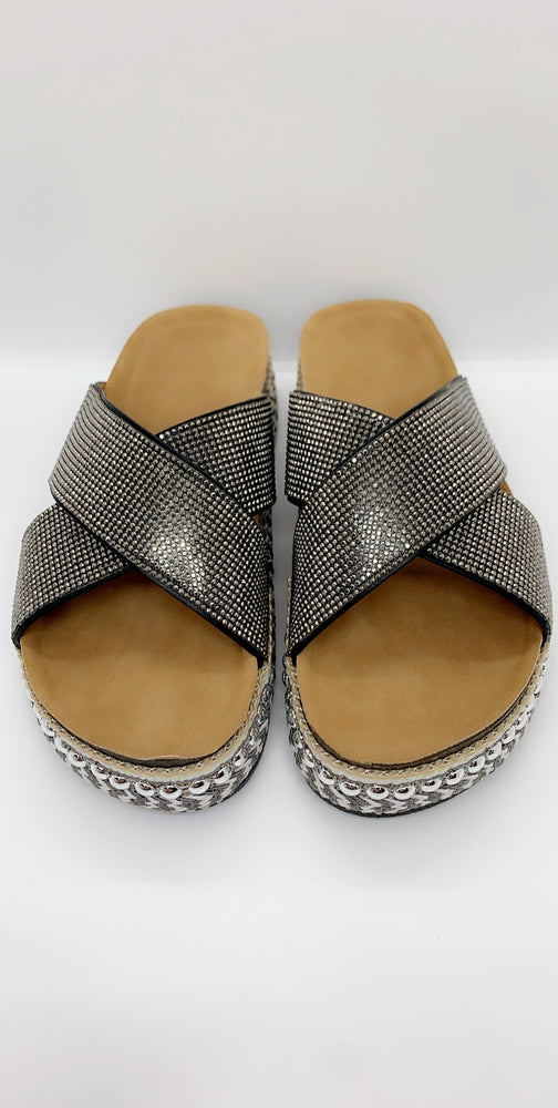 Black Diamante Details Flat Sliders - Missfiga.com