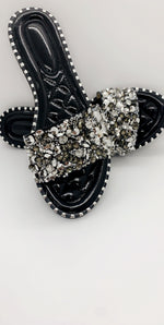 Black Sequin Diamond Strap Flat Sliders