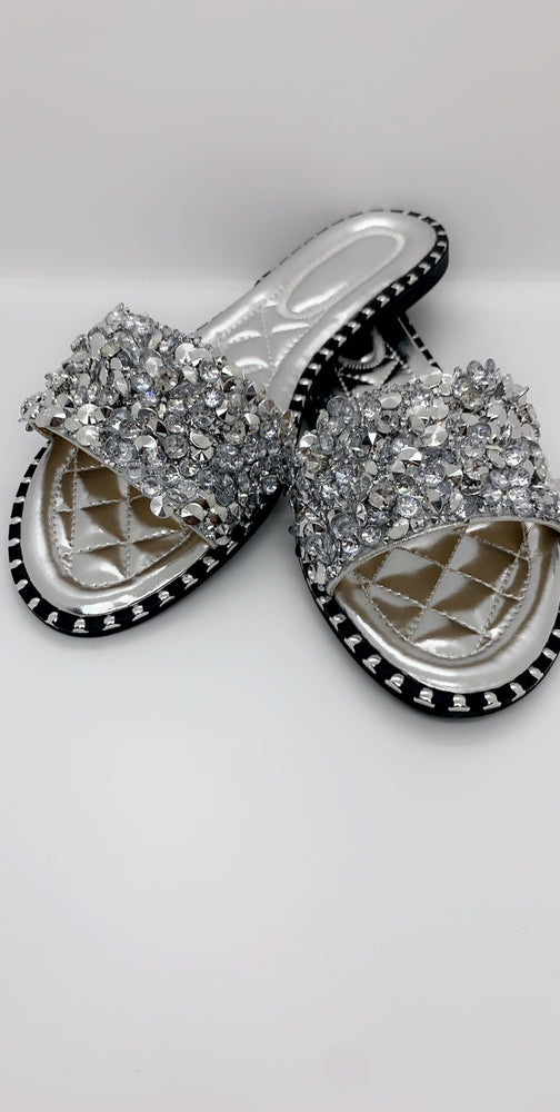 Silver Sequin Diamond Strap Flat Sliders - Missfiga.com