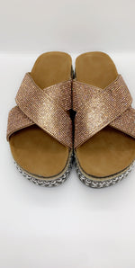 Rose Gold Diamante Details Flat Sliders - Missfiga.com