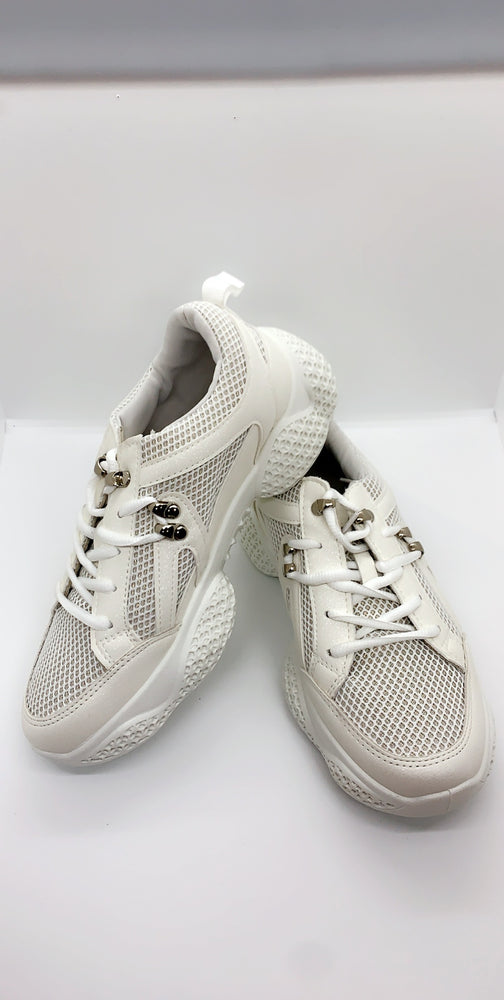 Triple White Pin Details Block Trainers - Missfiga.com