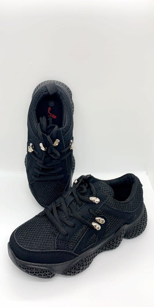 Triple Black Pin Details Block Trainers - Missfiga.com