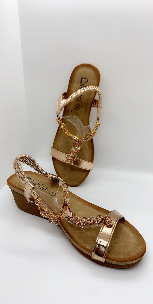 Rose Gold Jewelled Strap Over Flat Sandals - Missfiga.com