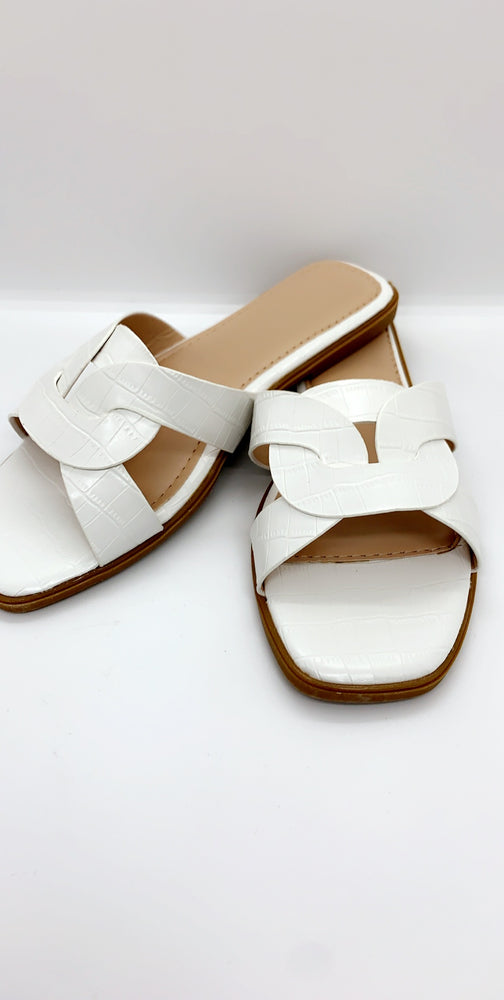 White Crocodile Strap Flat Sliders - Missfiga.com
