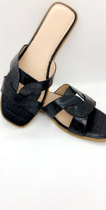 Black Crocodile Strap Flat Sliders