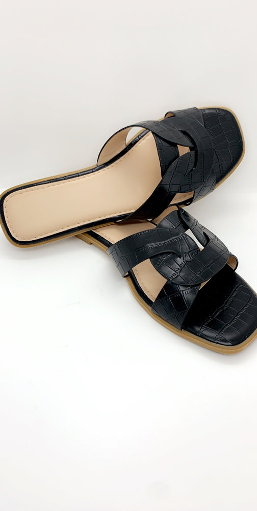 Black Crocodile Strap Flat Sliders - Missfiga.com