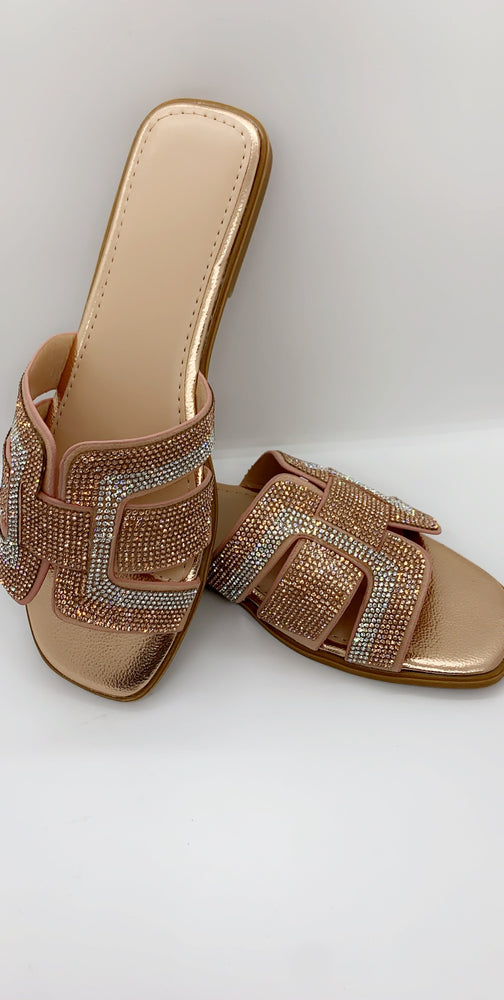 Champagne Diamante Thick Strap Flat Sliders