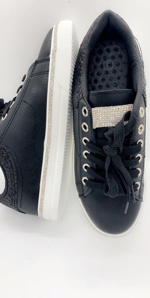 Black Glitter Diamante Pump Trainers - Missfiga.com