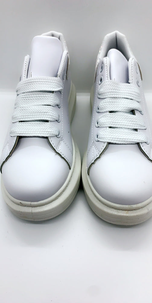 Triple White Glitter Heel Low Trainers