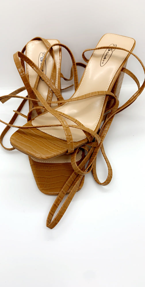 Camel Lace Up Crocodile PU Barely There Heels - Missfiga.com