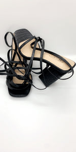 Black Patent Barely There Lace Up Heels
