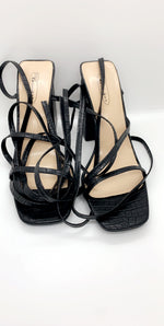 Black Lace Up Crocodile PU Barely There Heels - Missfiga.com