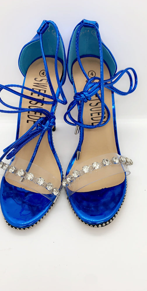 Lucia Blue Lace Up Gem Strap Heels
