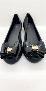 Jada Black Bow Detail PU Toe Peep Flats