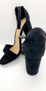 Black Suede Patent Strap Over Block Heels