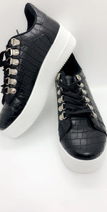 Black Pu Snake Low Trainers - Missfiga.com