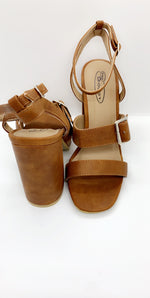 Tan Deep Buckle PU Block Heels