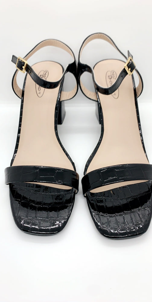 Black Buckle PU Block Heels