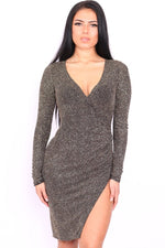 Diana Glitzy Long Sleeve Wrap Bodycon