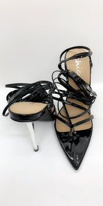 Black Metal Heel Pointed Patent Heel