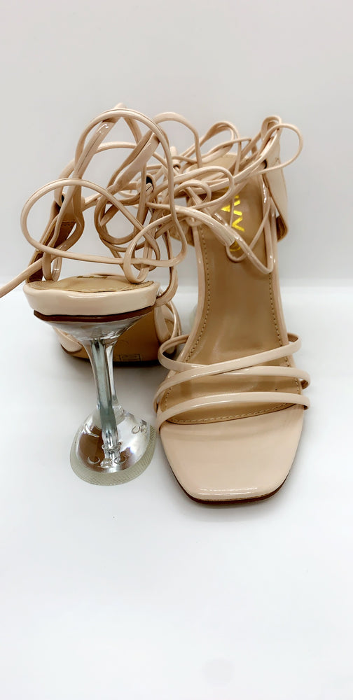 Nude Multi Strap Over Barely There Heels - Missfiga.com