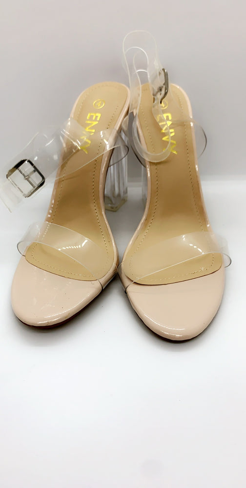 Clear Nude Stiletto Patent Perspex There Heels