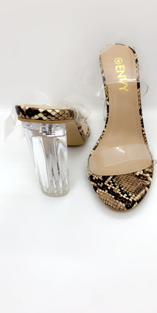 Clear Nude Snake Patent Perspex There Heels