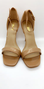 Mid Nude Stiletto Patent Barely There Heels