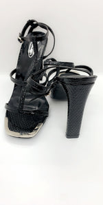 Black Natural Croc PU Patent Block Heels