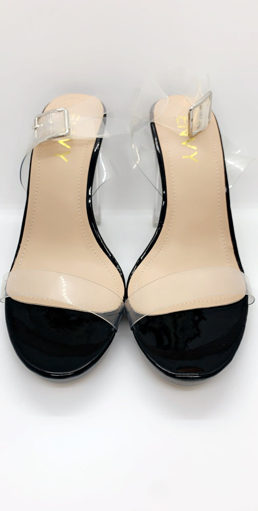 Clear Black 2 Part Block Perspex Heels