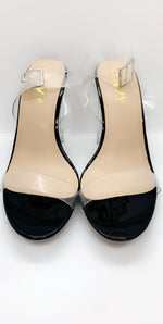 Clear Black 2 Part Block Perspex Heels - Missfiga.com