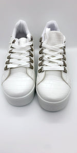 White Snake Embossed PU Panel Low Trainer - Missfiga.com