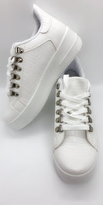 White Snake Embossed PU Panel Low Trainer