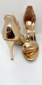 Rose Gold Chrome Stiletto Patent Barely There Heels - Missfiga.com