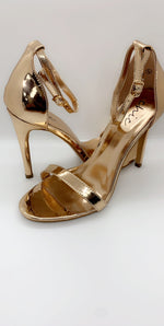 Rose Gold Chrome Stiletto Patent Barely There Heels