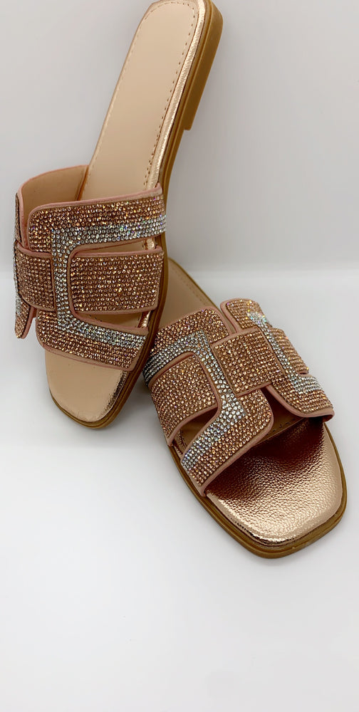 Champagne Diamante Strap Details Flat Sliders