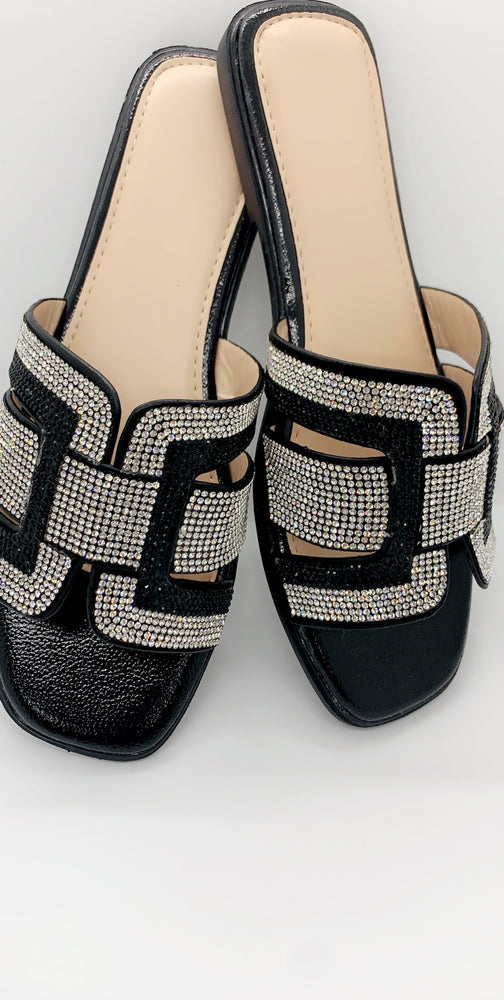 Black Diamante Strap Details Flat Sliders