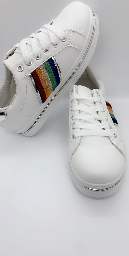 Silver Rainbow Panels Low Top Trainers