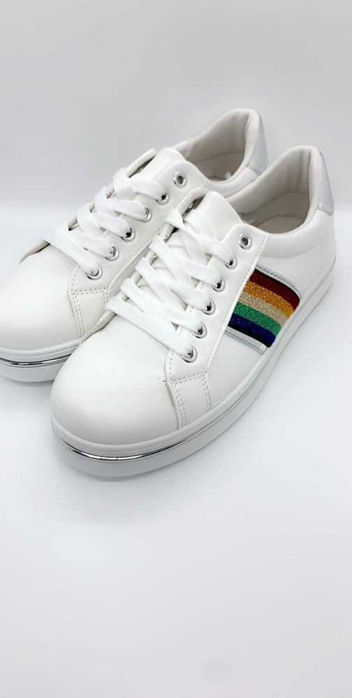 Silver Rainbow Panels Low Top Trainers - Missfiga.com