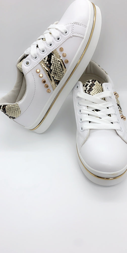 Gold Crocodile Panels Low Top Trainers