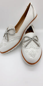 White Necklace Beads Bow Slip On Flats
