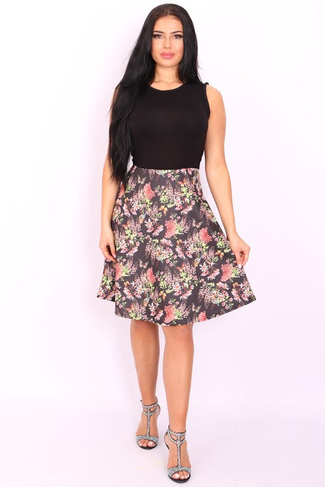 Ursala Black Floral Skater Dress