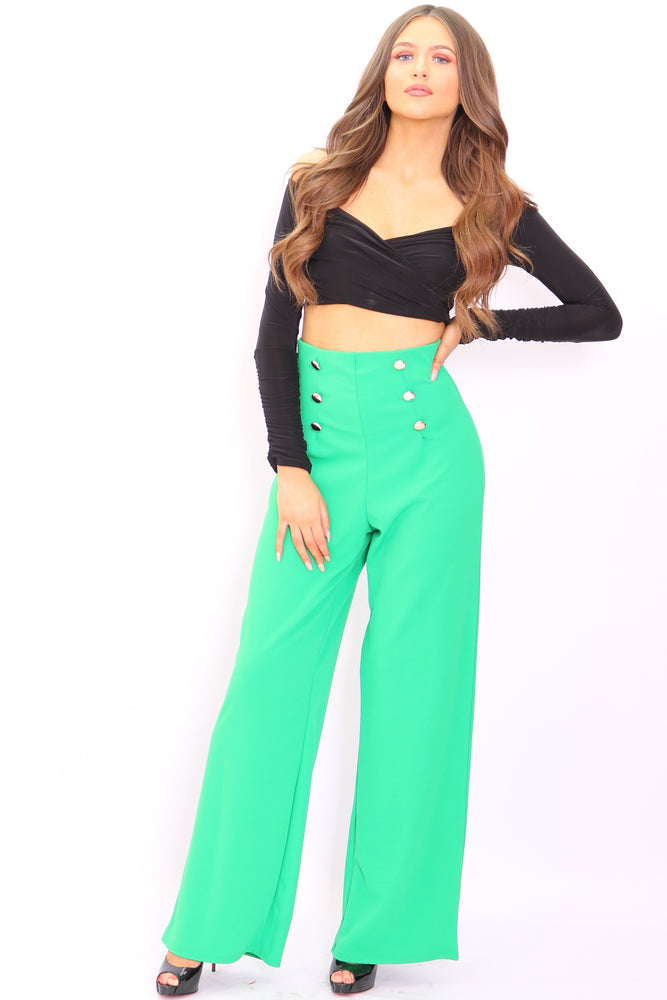 Maddie Green Button Flared Leg Trousers